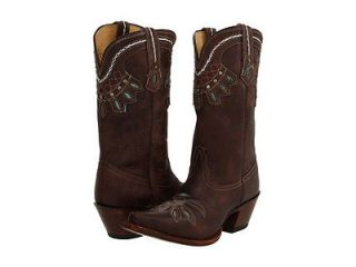 Womens Tony Lama VF6015 Brown Chocolate Rancho Vintage Cowboy Boot