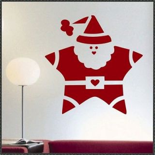 Holiday Vinyl Wall Lettering Santa Star Christmas Decal size 22 x 22