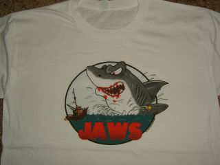 Jaws Shark Movie Bloody Mouth Boat Cartoon White T Shirt