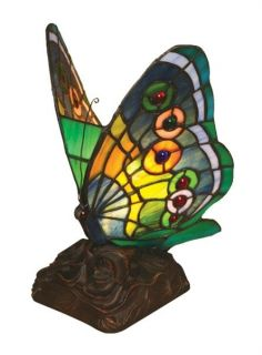 Handcrafted Tiffany Style Stained Glass Butterfly Night Lamp 9 1/2