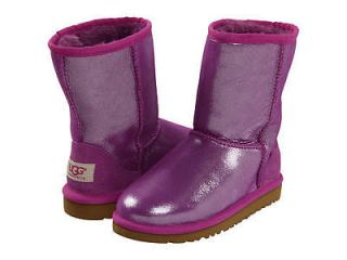 NIB UGG Australia Kids Youth Classic Short Grape Purple Glitter Boots