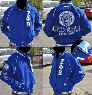 Zeta Phi Beta Blue Long sleeve Jacket S 3X Twill Jacket