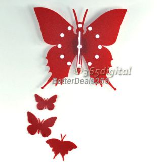 Charm Butterfly Wall Clock Decor Home Art Design Modern Style Time 2