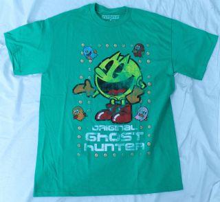 Pac Man Original Ghost Hunter Video Game Green Arcade Vintage T shirt