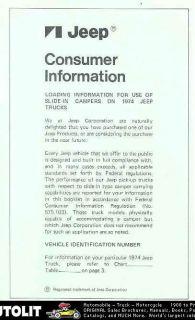 1974 Jeep Slide In Camper Consumer Information Brochure