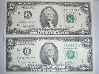 2003A $2 US Two Dollar Bill 3 Notes Consecutive Numbered Uncirculated