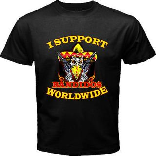 Support Bandidos MC Worldwide 1%er Biker Motorcycle Club Black T