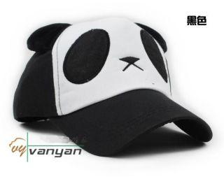 Lovely Panda Baseball Cap Adjustable Hat for Ladies Girls Black
