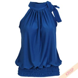 Halter Neck Draped Ruched Top Blouse Flattering Bow Tie Summer Party