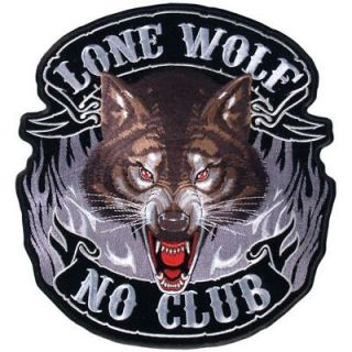 LONE WOLF NO CLUB BIKER PATCH harley (XXL) 11 INCH