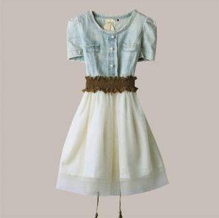 Women Vintage Jean Denim Party Dress Retro Girl Summer S M L Skirt
