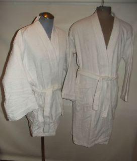 NWT Men Women Unisex White Cotton Terry Cloth Kimono Robe L/ XL Short