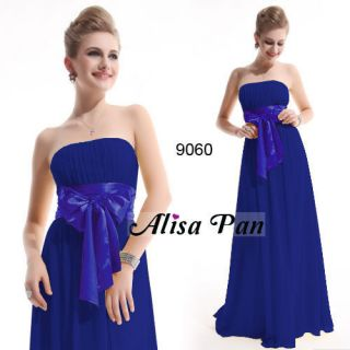 Quinceanera Damas Sapphire Blue Chiffon Maxi Bridesmaid Dress 09060 US