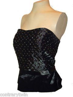 Bustier, Cachet, Black Shiny Shirred Rhinestone Studded Lined Dressy