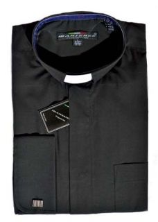 Mens CLERGY BLACK TAB COLLAR DRESS SHIRT Pastor Preacher French Cuffs