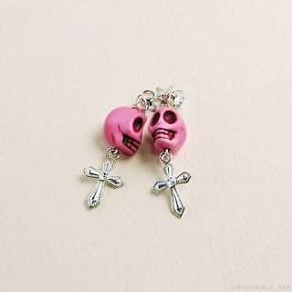 Day of the Dead   Dia de los Muertos   Pink Skull Earrings w/ cross
