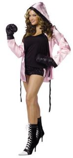 Ladies Sexy Pink BOXER fancy dress costume + Gloves 2sz
