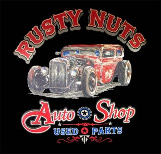 RUSTY NUTS AUTO SHOP RAT ROD VINTAGE LOOK T SHIRT BLACK