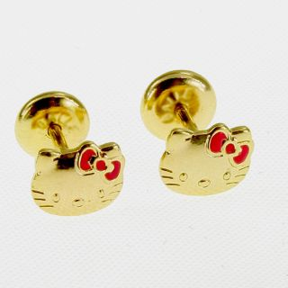 Gold 18k GF Pink Enamel Earrings Security Stud Hello Kitty Infants