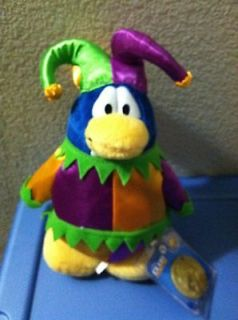 Club Penguin Court Jester Plush Toy Series 3 Brand New with Coin