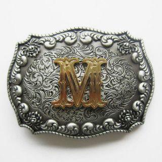 Initial Letter M Cowboy Rodeo Western Metal Belt Buckle