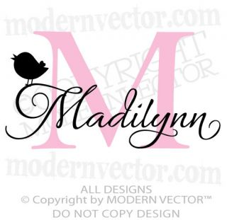 MONOGRAM Personalized Name Vinyl Wall Decal Sticker Girls Nursery WITH