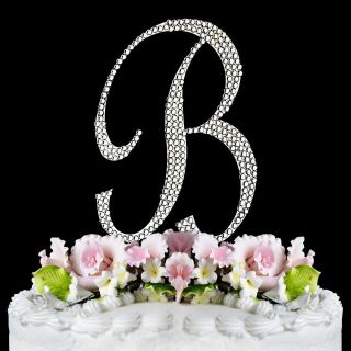 NWT Monogram Silver Initial LETTER or NUMBER Cake Topper w/ swarovski
