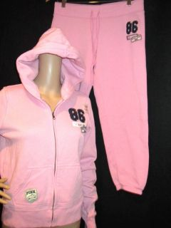 VICTORIA SECRET PINK ~ DESIGNER Track Suit Sweat Suit Hoodie ~ SZ M