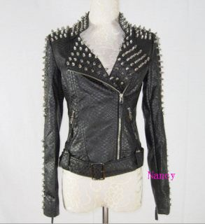 Punk Spike Studded Shoulder PU Leather Jacket Coat Motorcycle Jacket