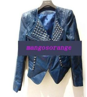 Punk Studded Peak Power Shoulder PU Leather Tuxedo Coat Blazer Jacket
