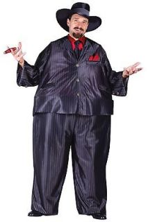 Mens Fat Mobster Suit Halloween Costume Pinstripe Mafia Gangster 20s