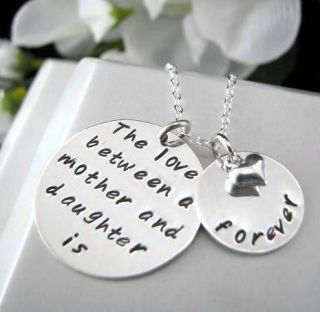 Silver Hand Stamped 2 Charms Daughter Mother FOREVER Necklace Heart