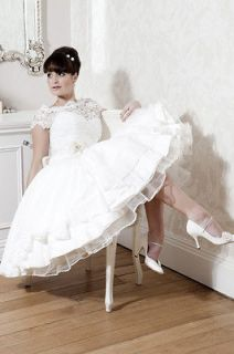 Short Sleeve Short Tea Length Wedding Dress Bridal Prom Gown Evening