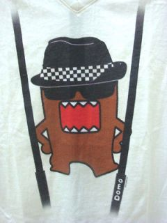 Domo / Domo Kun V Neck Short Sleeve Tee Shirt Suspenders in White