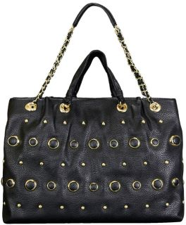 black leather backpack stud