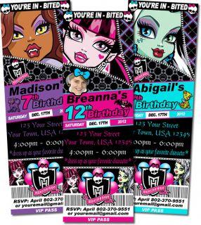 Printed Monster High Custom Ticket or 4X6 Birthday Invitations NEW