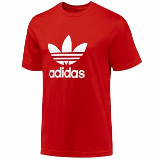 Adidas Originals Trefoil Mens Red Short Sleeve T Shirt Crew Neck Tee