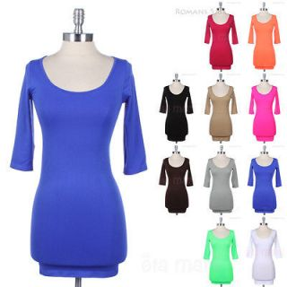 Solid Plain Wide Scoop Neck 3/4 Sleeve Tunic Mini Dress Stretchy
