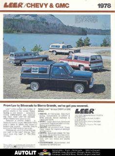 1978 Leer Pickup Truck Cap Chevrolet GMC Brochure