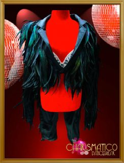 BLACK Lady Gaga ENTERTAINER Feather SHOW TIME TAIL SUIT JACKET
