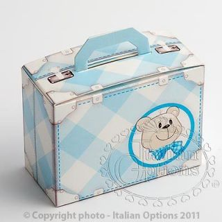 Cute Baby Boy Teddy Bear Blue Suitcase Christening Shower Party Favour