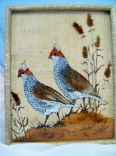 Vintage Reverse Painting on Glass, Quail, Signed