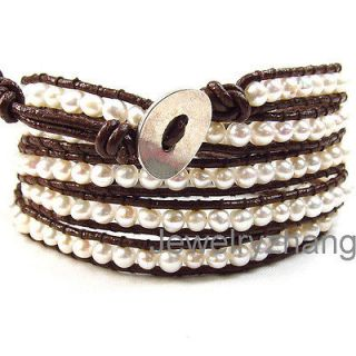 natural Fresh water Pearl 5 wrap bracelet on brown leather K01