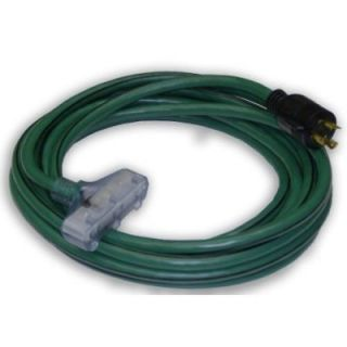 25 ft 10/3 Generator Power Cord with L5 30P Plug and (3) Lighted 5 15R