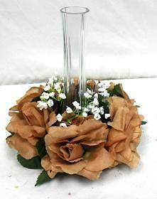 Roses Candle Ring BROWN Wedding Centerpiece Silk Flower