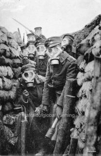 Photo 1914 8 WW1 German Soldiers in Trench Gas Masks Preparing to