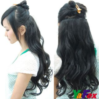 One Piece long curl/curly/wav​y hair extension clip on 3 Color Cheap