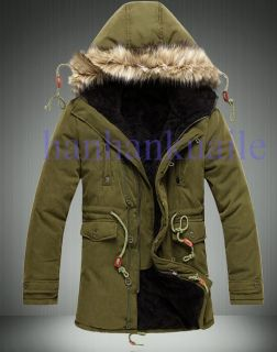 2012 Mens Cloth Hooded Fur Winter Long Coat Outerwear Warm Winter