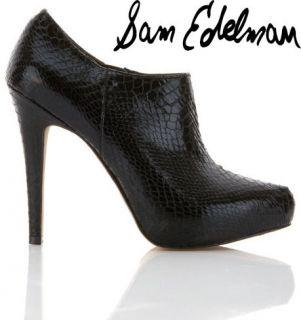 Sam Edelman Ria Womens Croc Look Black Shoe Boot