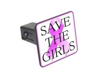 Girls Breast Cancer Ribbon   1.25 Tow Trailer Hitch Cover Plug Insert